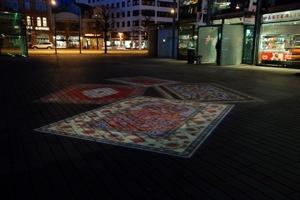 projecerade mattor på torget i Helsingborg