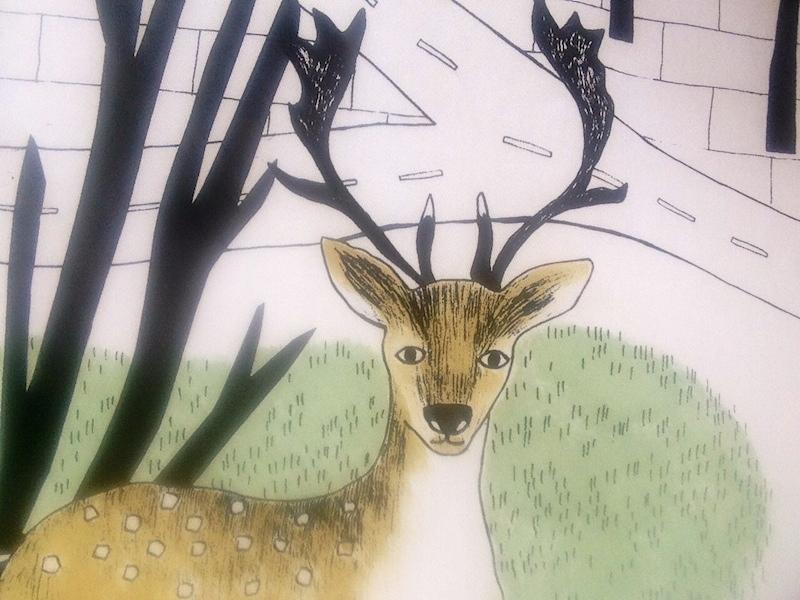 hjort i landskap, textiltryck