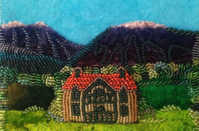 pärlbroderi, ett hus bland bergen